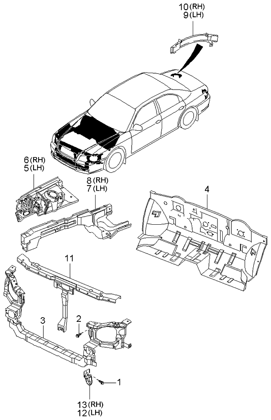 2003 Kia Optima Fender Apron & Radiator Support Panel