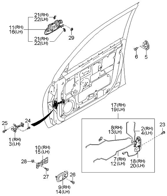 2004 Kia Spectra Sedan (Old Body Style) Locking-Front Door