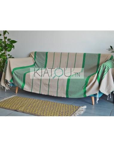 jete de canape beige raye vert tropical ref 411 2 3m 100 coton