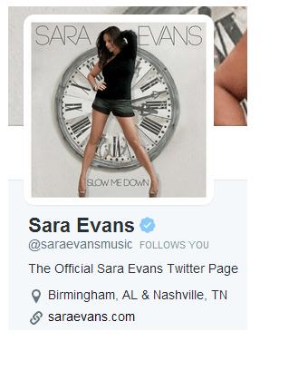 Sara Evans Follows KIBS Radio on Twitter, ya'll.