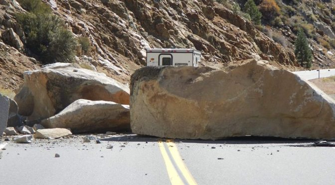 TIOGA PASS CLOSED DUE TO FALLING BOULDERS