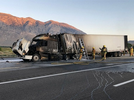 Truck Brake Fire Causes Paint to Spill Near Sherwin Grade