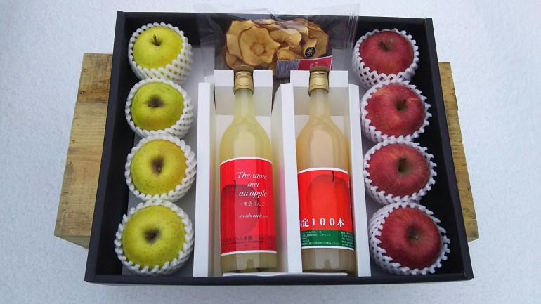 化粧箱仕立てのりんごとりんごジュースの詰合せ