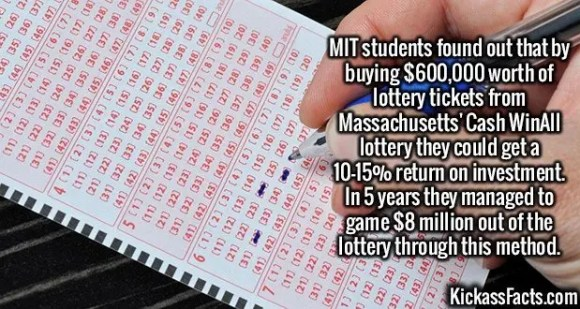 2585 Massachusetts lottery-MIT students found out that by buying $600,000 worth of lottery tickets from Massachusetts' Cash WinAll lottery they could get a 10-15% return on investment. In 5 years they managed to game $8 million out of the lottery through this method.