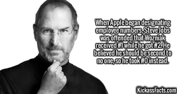 2616  Steve Jobs-When Apple began designating employee numbers, Steve Jobs was offended that Wozniak received #1 while he got #2. He believed he should be second to no one, so he took #0 instead.