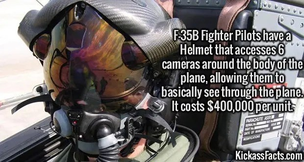 2441 F-35B Helmet-F-35B Fighter Pilots have a Helmet that accesses 6 cameras around the body of the plane, allowing them to basically see through the plane. It costs $400,000 per unit.