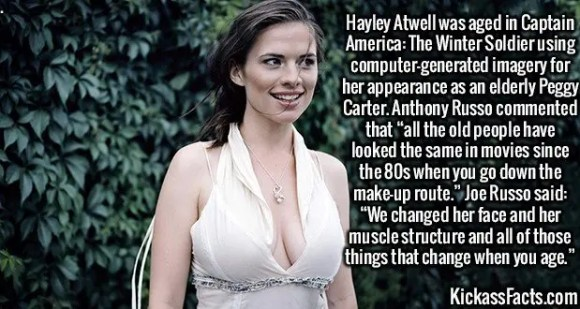 """2488 Hayley Atwell-Hayley Atwell was aged in Captain America: The Winter Soldier using computer-generated imagery for her appearance as an elderly Peggy Carter. Anthony Russo commented that """"all the old people have looked the same in movies since the 80s when you go down the make-up route."""" Joe Russo said: """"We changed her face and her muscle structure and all of those things that change when you age."""""""