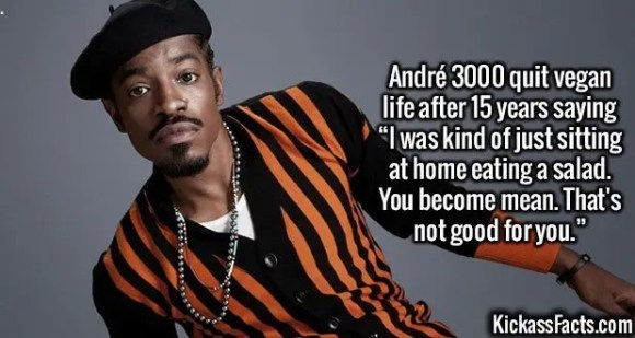 """2546 André 3000-André 3000 quit vegan life after 15 years saying """"I was kind of just sitting at home eating a salad. You become mean. That's not good for you."""""""