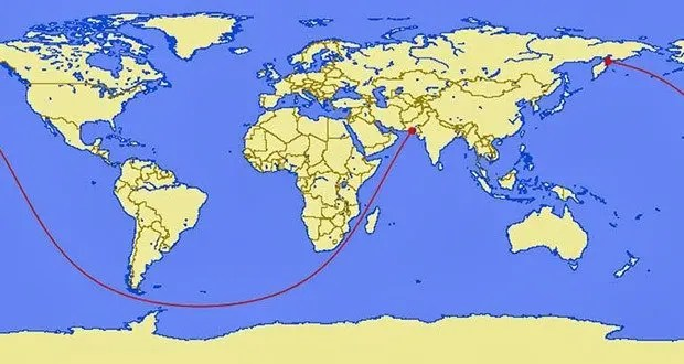 Longest Straight Line In The Ocean Without Touching Land - Us distance map