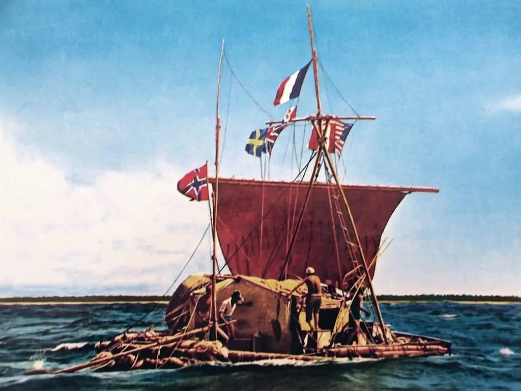 colorized photo of the kontiki