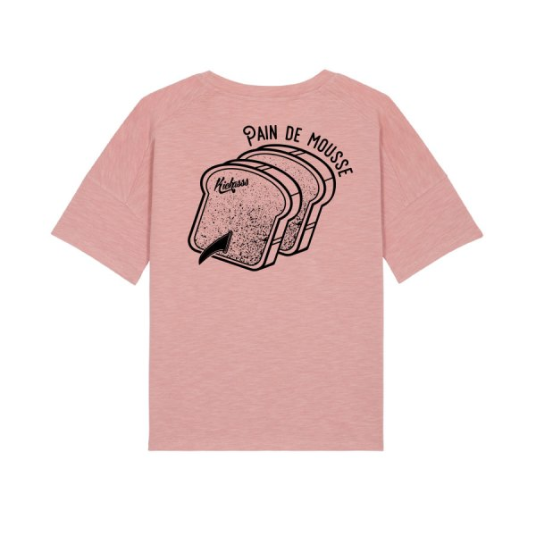 "T-shirt ""lourd"" boxy pour femme en coton bio Kickasss Pain de Mousse (canyon pink)"
