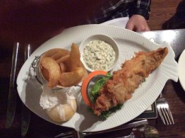 fish and chips on a posh plate
