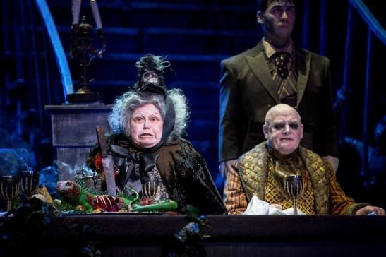 Valda Aviks as Grandma Addams and Les Dennis as Uncle Fester in THE ADDAMS FAMILY. Credit Matt Martin