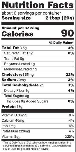 Cricket Nutrition Label