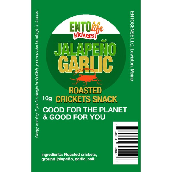 Jalapeno Garlic Mini-Kickers Crickets Label