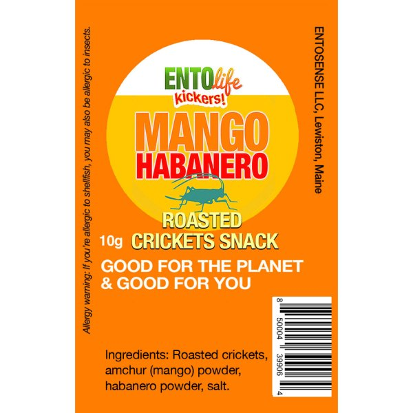 Mango Habanero Mini-Kickers Crickets Label