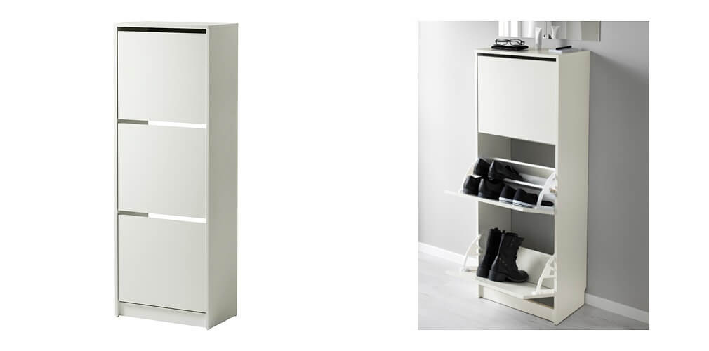 Bissa Shoe Cabinet With Compartments White Horz