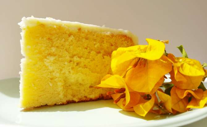 Lemon Chiffon Cake with Lemon Cream Cheese Frosting | Kicking Back the Pebbles