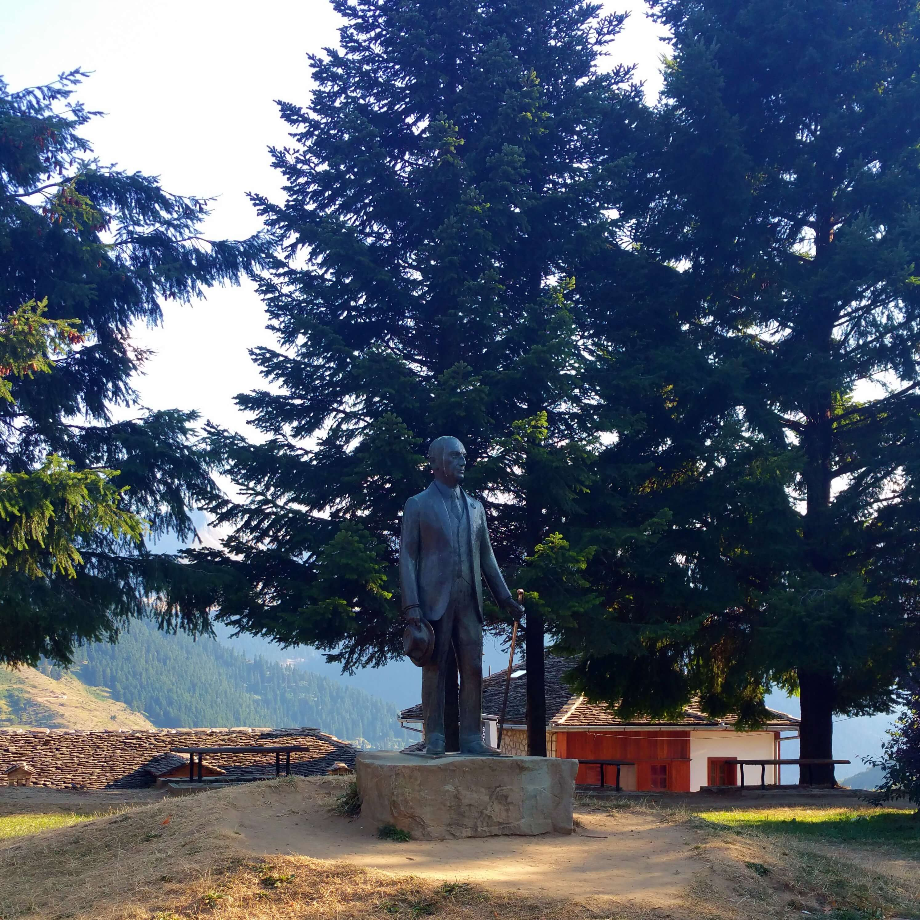 Evangelos Averoff statue in Metsovo | Kicking Back the Pebbles