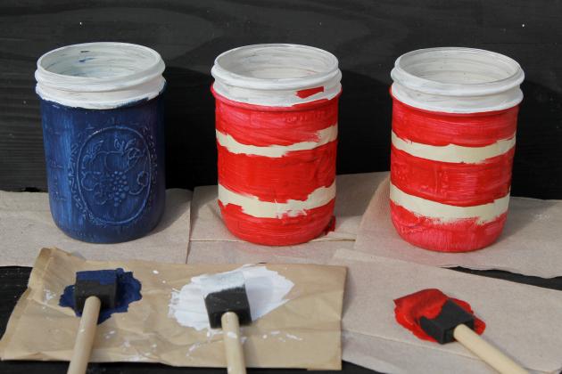 taped mason jars