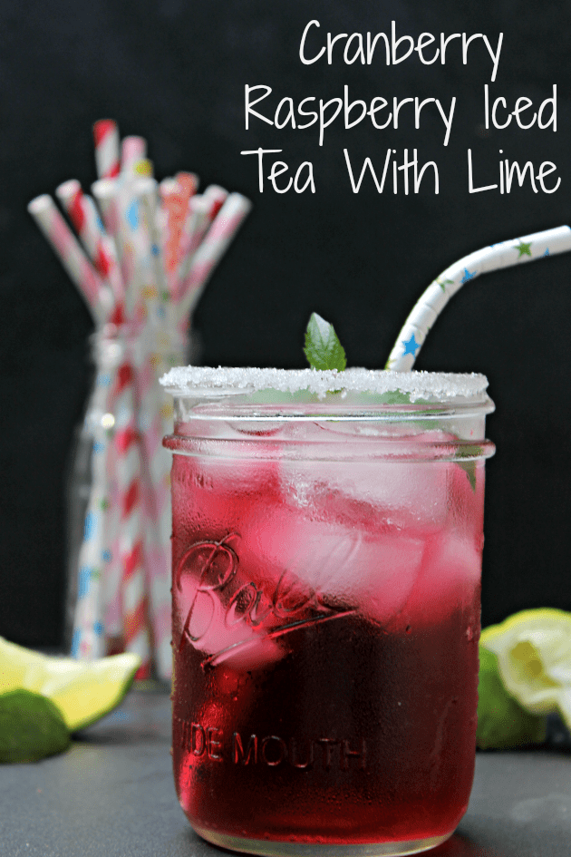 Cranberry Raspberry Iced Tea With Lime pin