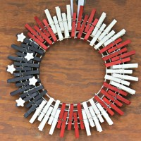 Patriotic Red White and Blue Clothespin Wreath
