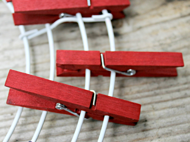 Patriotic Red White and Blue Clothespin Wreath spacing