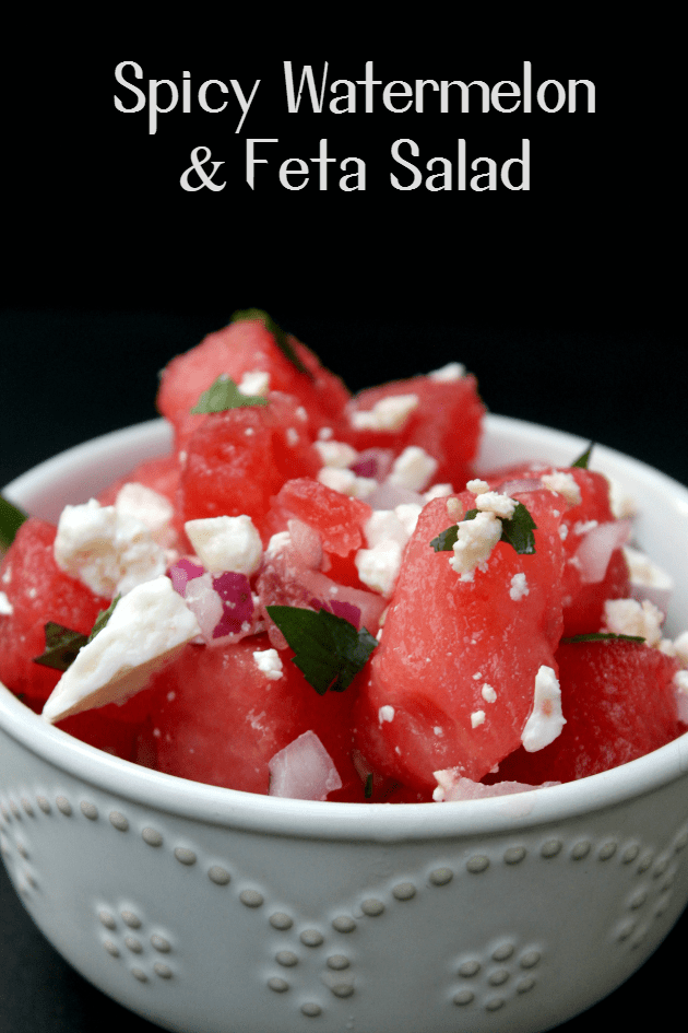 This light and refreshing Spicy Watermelon and Feta Salad is the easiest fruit salad recipe you will ever make!