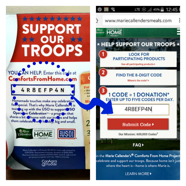 Help Our Troops Celebrate The Holidays code