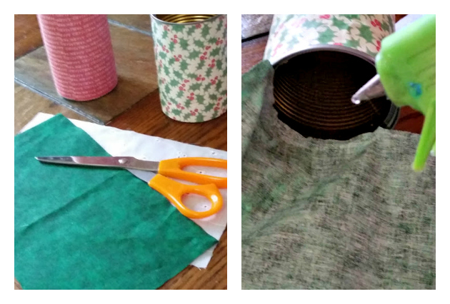 DIY Upcycled Gift Container Tutorial #PowerYourHoliday fabric