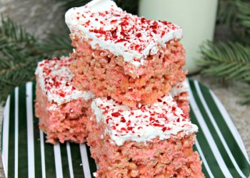 White Chocolate Peppermint Crispy Rice Cereal Treats #ShareTheHoliday