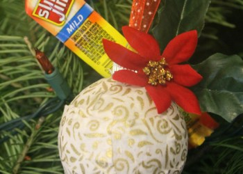 Easy DIY Fabric Covered Ornaments Tutorial #SlimJimYourHoliday