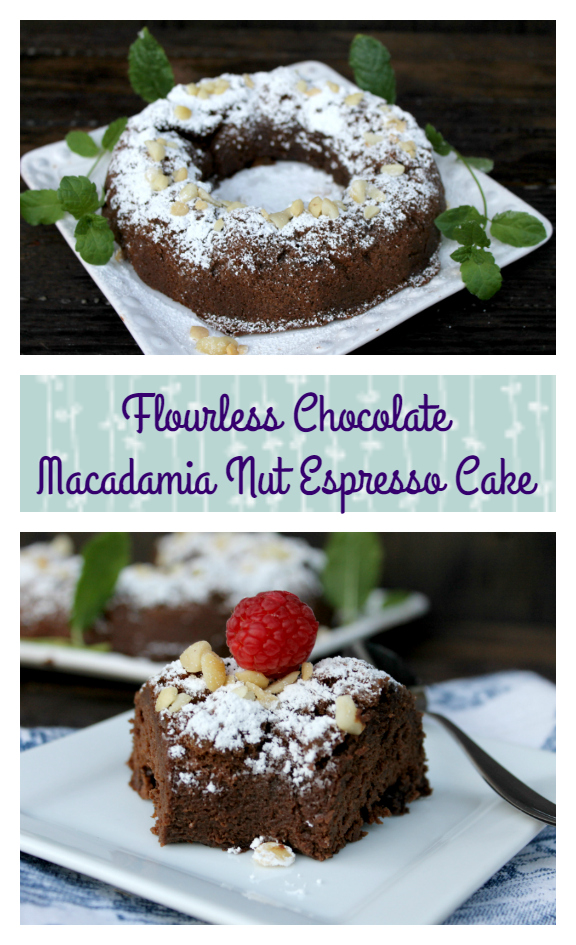 Love coffee and dessert? My decadent Flourless Chocolate Macadamia Nut Espresso Cake is both in one! It is a great flourless cake recipe.