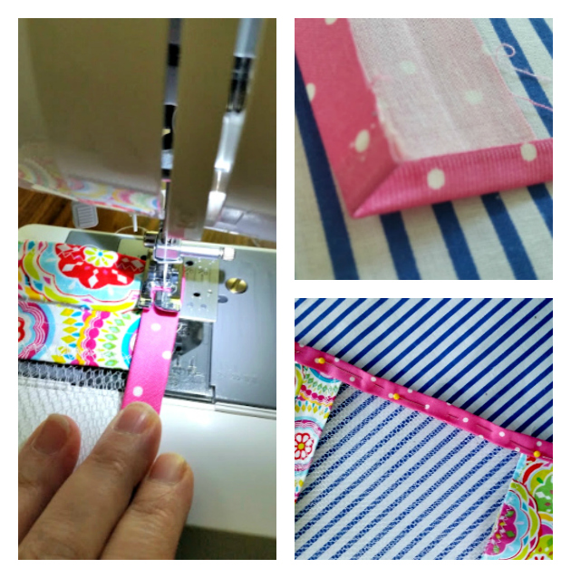 Easy To Sew DIY Mesh Laundry Bag binding collage