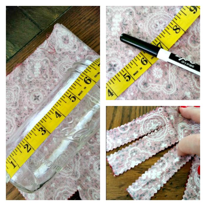 DIY Patriotic Fabric Mason Jars cut and measure