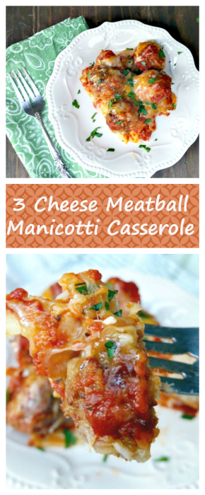 If you are looking for an easy pasta recipe bold flavors, try this Three Cheese Turkey Meatball Manicotti Casserole recipe! This is a pasta recipe for dinner the whole family will love! #ad