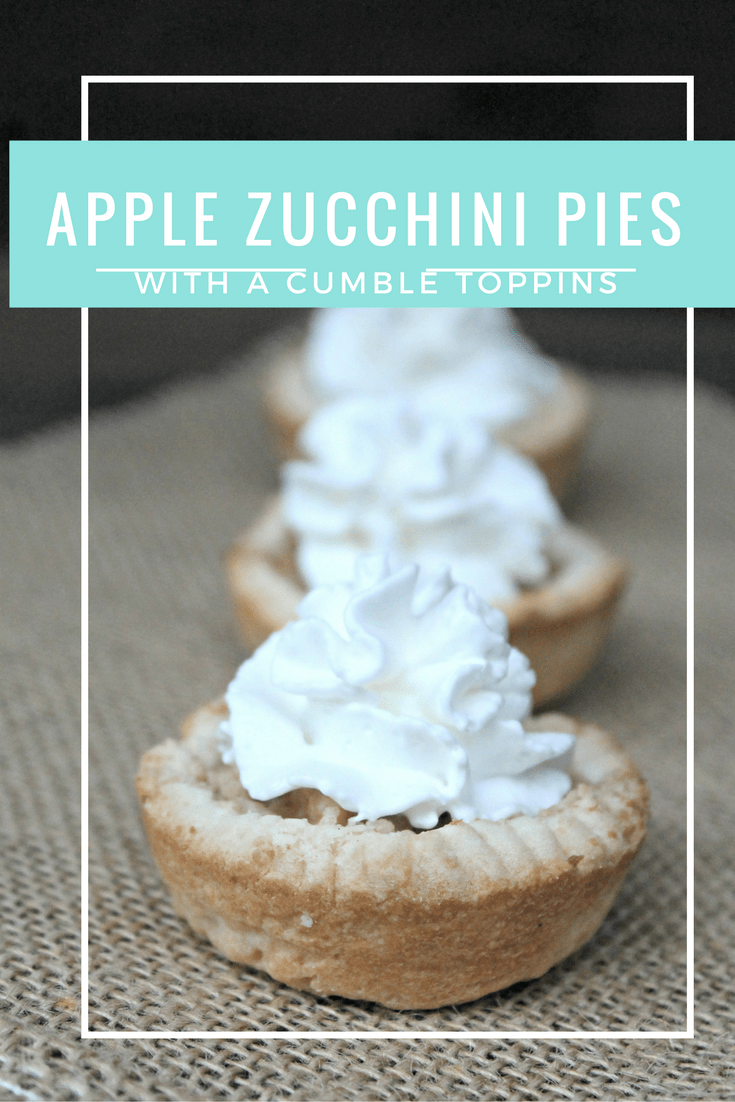 In looking for a healthy update on my mom's apple pie recipe, I made a few changes and came up with these Apple Zucchini Pies with a yummy crumb topping!