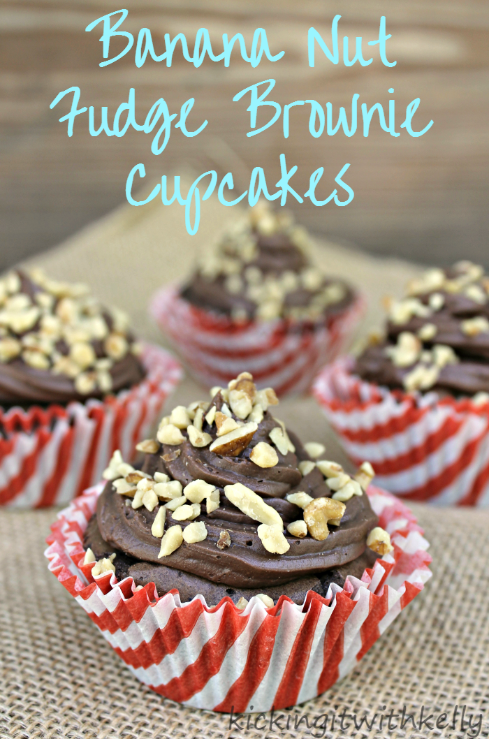 When my kids have a tough day, I know I can life their spirits with their favorite Banana Nut Fudge Brownie Cupcakes! So rich and so good!