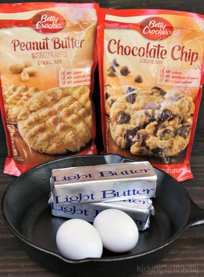 Easy Peanut Butter Chocolate Chip Skillet Cookie ingrediens