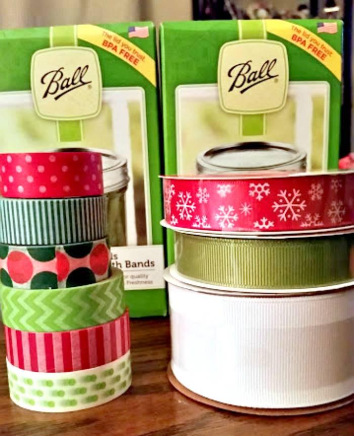 Washi Tape Mason Jar Lid Christmas Wreath supplies