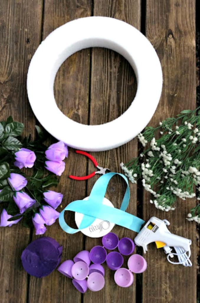DIY Floral Easter Egg Wreath Tutorial supplies
