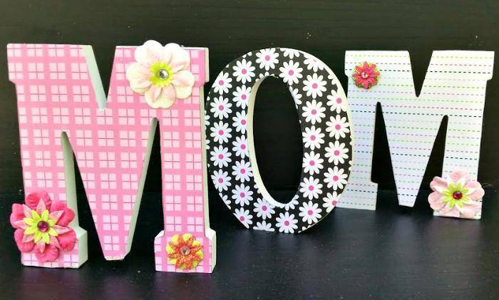 Scrapbook Paper Covered Letters Mothers Day Craft 3