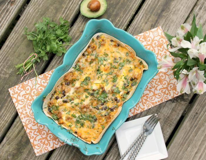 30 Minute Layered Turkey Enchilada Casserole.