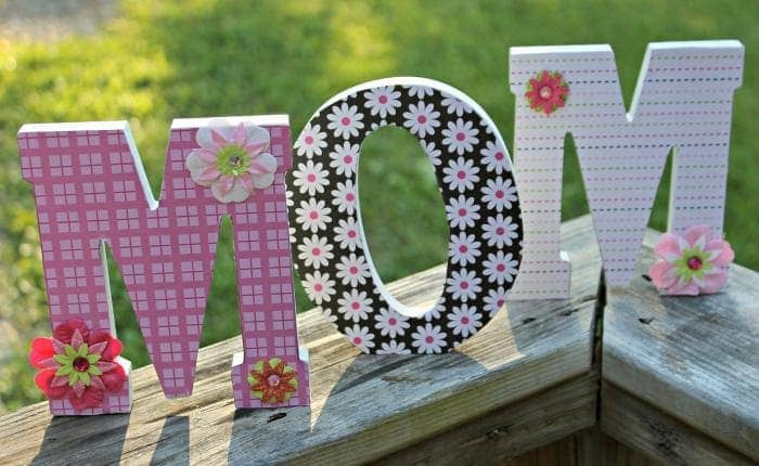 Scrapbook Paper Covered Letters Mothers Day Craft step three