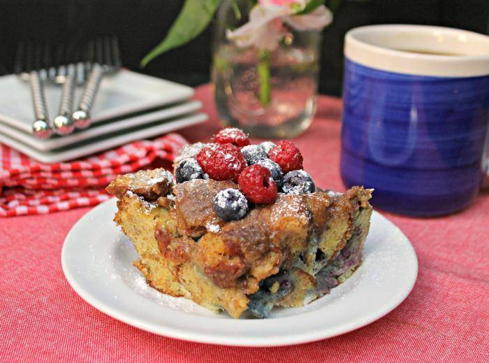 Blueberry Dulce de Leche French Toast Casserole