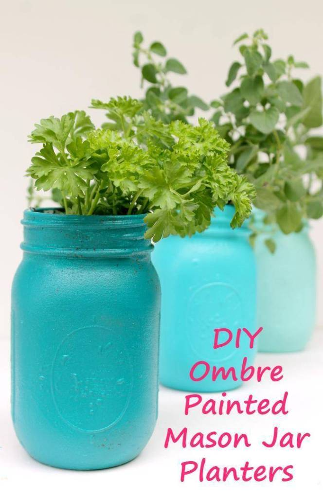 Want to get your hands dirty with a fun gardening craft this summer? These DIY Ombre Painted Mason Jar Planters are as pretty as they are functional #ad #OurCaringHands #SoftsoapTouch @target