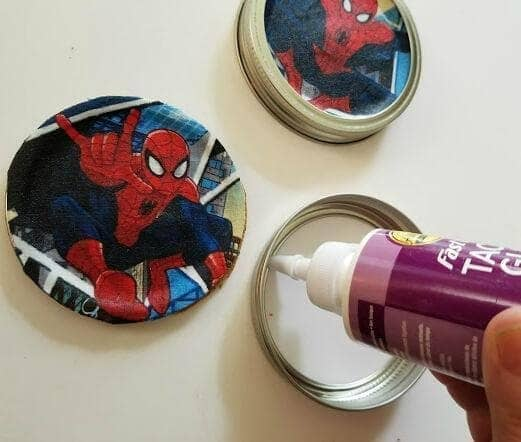 Superhero Mason Jar Lid Coaster Craft For Dad step three