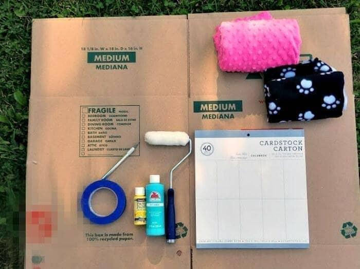 DIY Cardboard Cat House Tutorial supplies