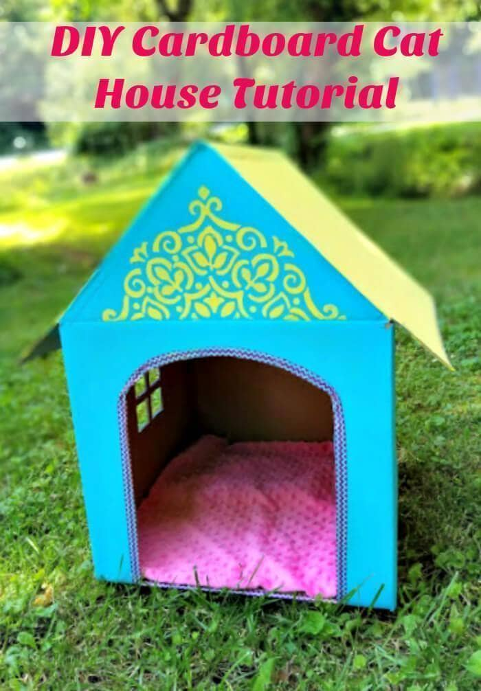 If you have a cat at home, they will love a comfy place to relax. If you have a cat or small dog at home, follow my easy tutorial on how to make a cat house out of cardboard boxes!