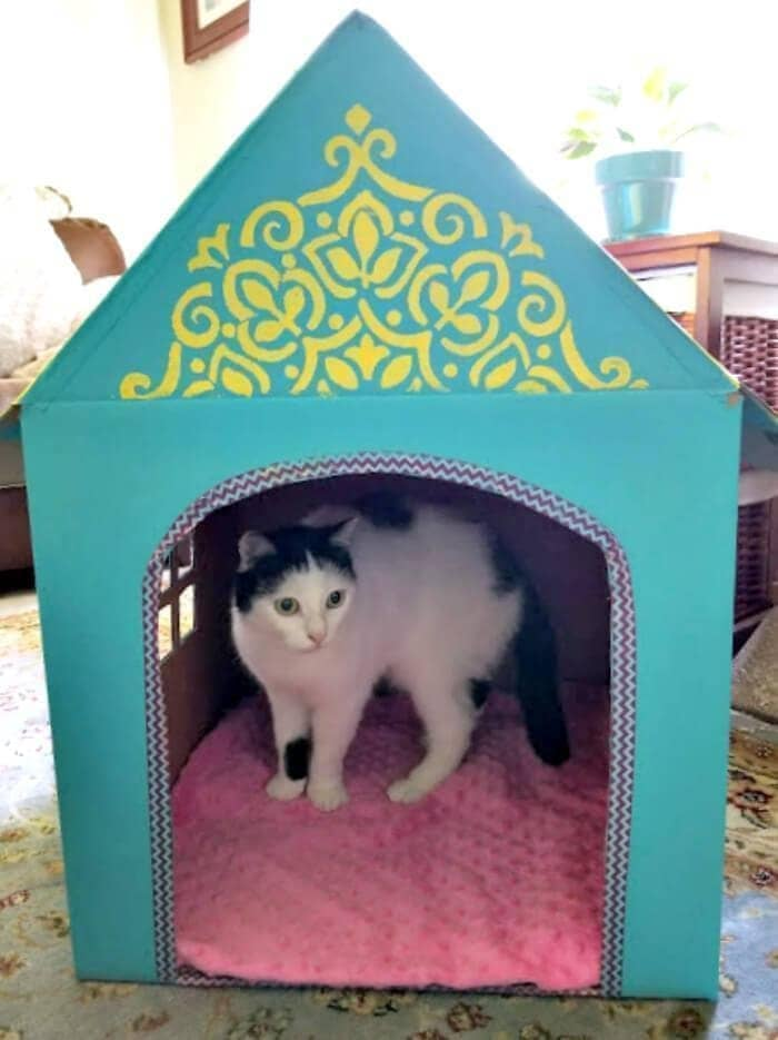 DIY Cardboard Cat House meep house